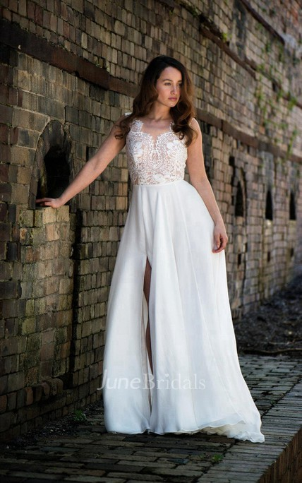 Sexy V-Neck Sleeveless Chiffon Wedding Dress With Split Side