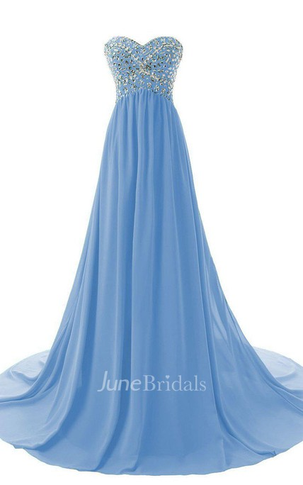 Enchanting Sweetheart Chiffon Gown With Sequins