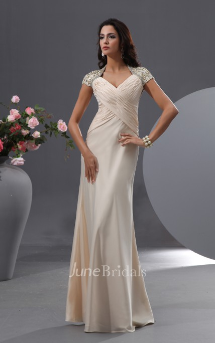 Anne Queen Anne Graceful Gown With Shiny Floral Cap-Sleeves