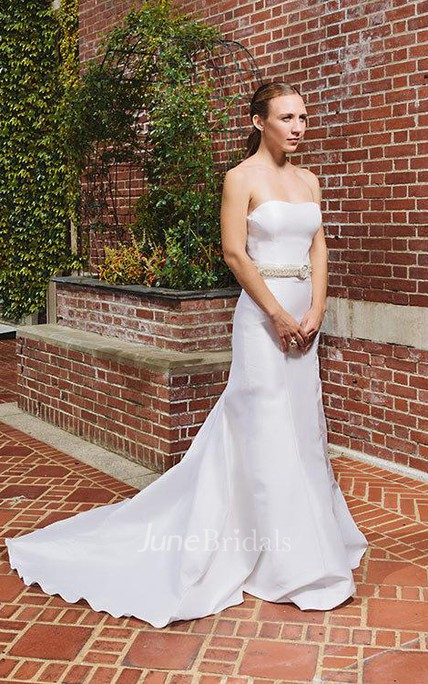 Simple Strapless Mermaid Satin Wedding Dress Elegant