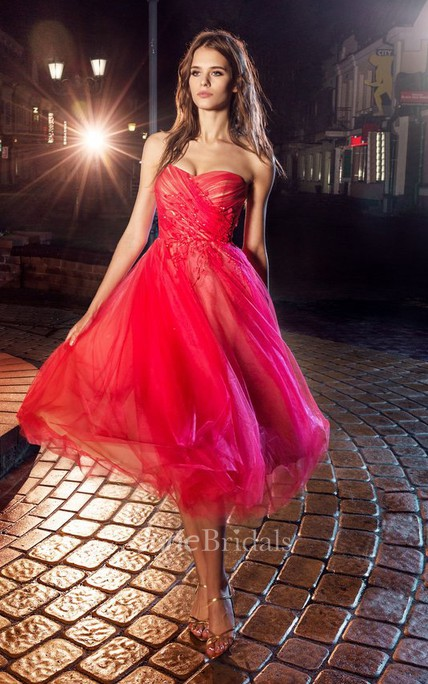 A-Line Knee-Length Strapless Tulle Backless Dress With Criss Cross And Flower