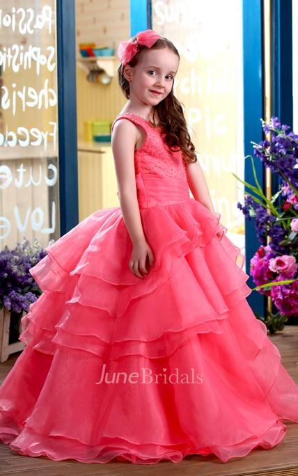 f4a79f57f One-Shoulder Tiered A-Line Flower Girl Dress With Beaded Top - June Bridals