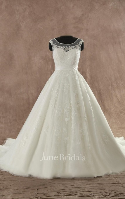 Jewel Sleeveless Button Back Lace Wedding Dress With Sash And Appliques