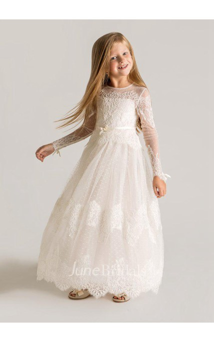 e65d1efb88d Modern Tulle Lace A-line Flower Girl Dress 2018 Long Sleeve - June Bridals