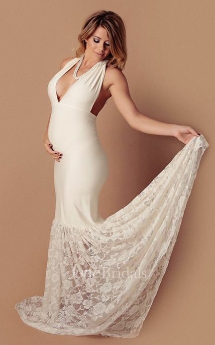 Sexy Mermaid V Neck Sleeveless Jersey Maternity Wedding Dress June