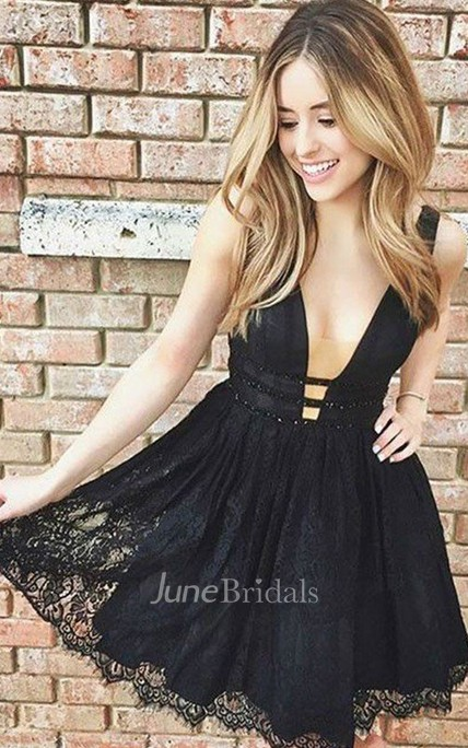 A-line Plunging Neckline Sleeveless Beading Tiers Short Mini Lace Homecoming Dress