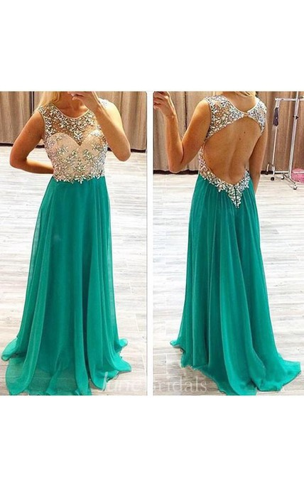 A-Line Princess Sleeveless Beading Chiffon Sweep Brush Train Dresses