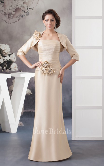 Strapless Ruched Sheath Dress with Flower and Bolero