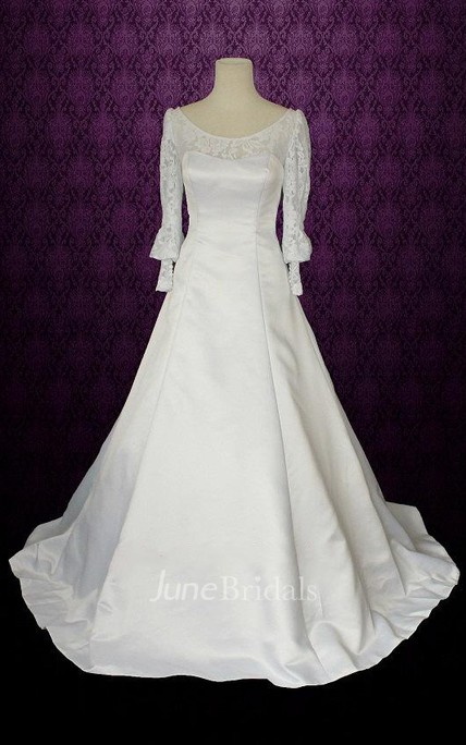 38473d1661 Jewel Puff Sleeve Button Back Long Satin Wedding Dress With Bow And Lace - June  Bridals