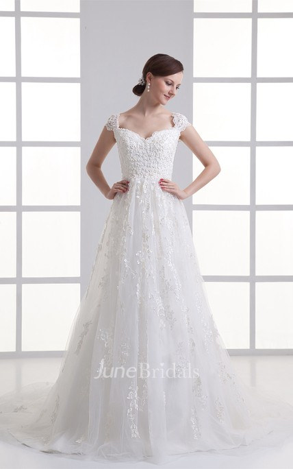Queen-Anne Lace A-Line Dress with Tulle Overlay