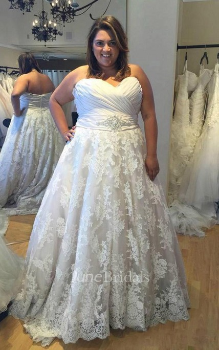 Plus Size Sweetheart A Line Beaded Waist Lace Bridal Gown