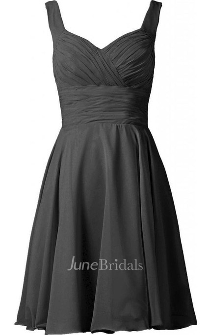 Sleeveless A-line Knee-length Ruched Chiffon Dress