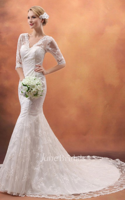 Deep Half-Sleeve Siren V-Neck Gown With Lace Appliques