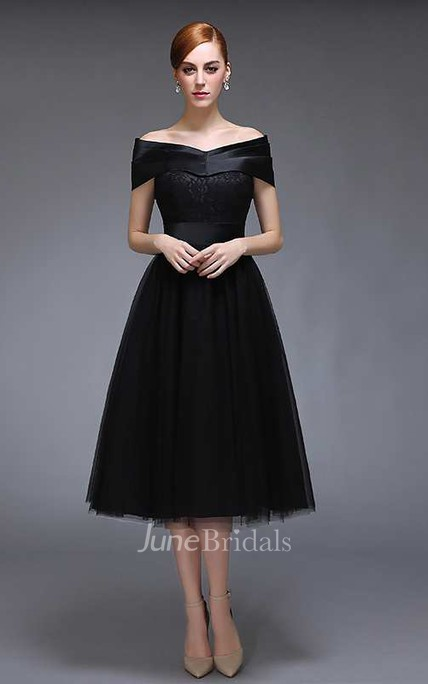 Off The Shoulder V Neck A-line Knee Length Tulle Dress