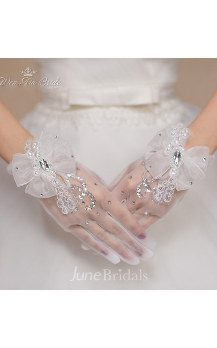 The New Crystal Gauze White Bow Short Gloves