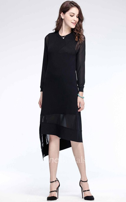 Black Long Sleeve Asymmetric Hemline Midi Dress