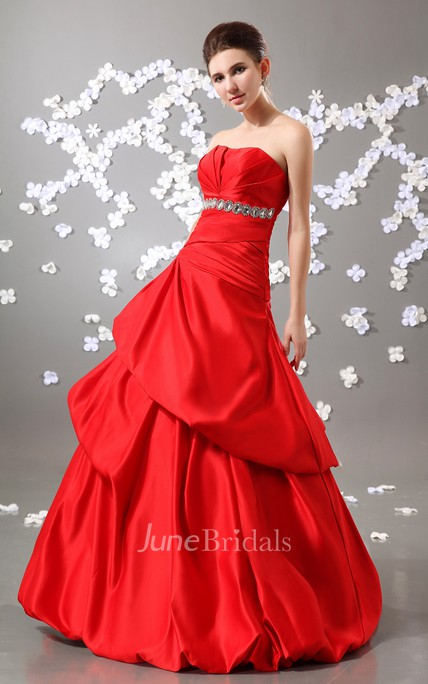 Stunning A-Line Exquisite Strapless Ball Gown With Crystal Detailing