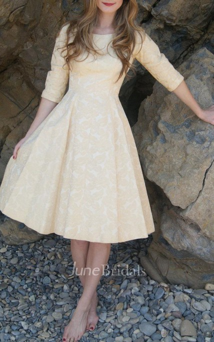 Vintage 1950'S Gold Buttercream Rose Brocade Size Xs W 24 Dress