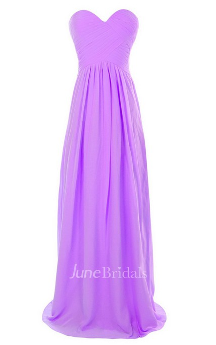 Sweetheart Long Chiffon Gown With Crisscross Ruching