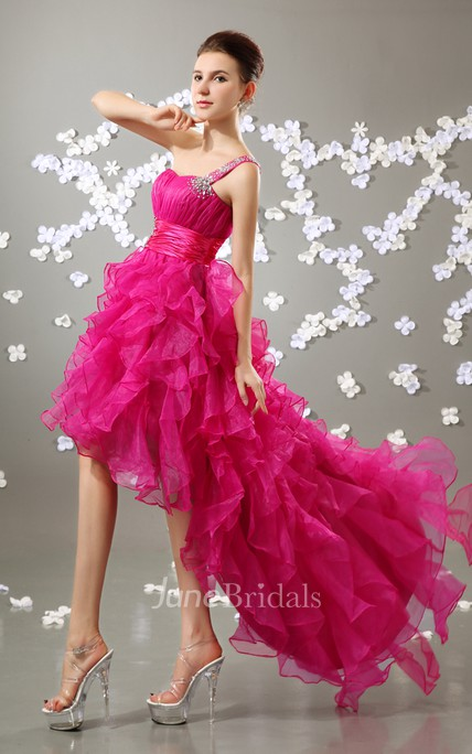Lovely Organza Dress With Crystal Detailing And Ruffled Skirt