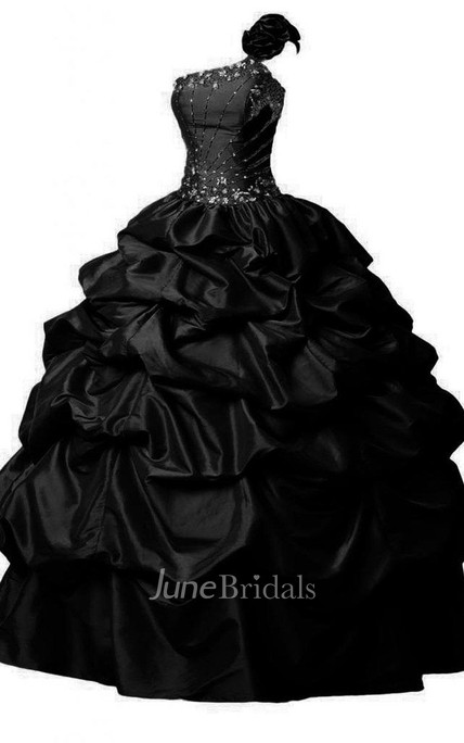 One-shoulder Ballgown With Ruffles and Beadings