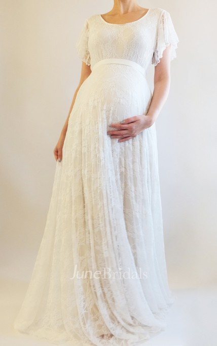 b5de6346a6634 Bohemian Bat sleeve A-line lace Maternity Wedding Dress - June Bridals