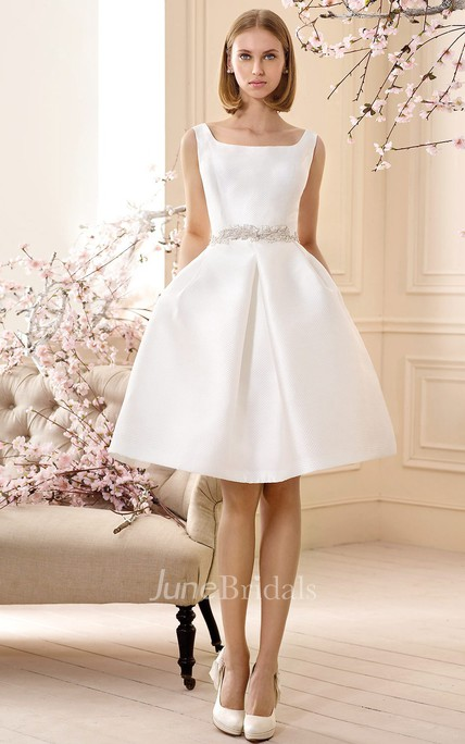 A Line Jeweled Sleeveless Short Mini Square Neck Satin Wedding Dress ...