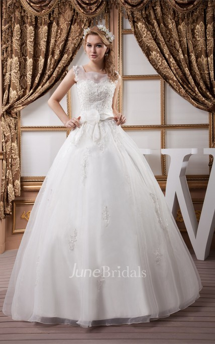 Sleeveless Tulle Ball Gown with Appliques and Illusion Neckline