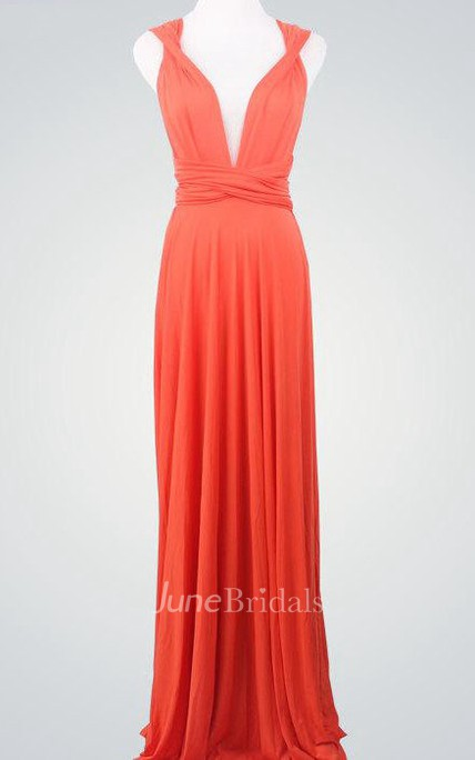 528d3cef146 Coral Wrap Infinity Coral Bridemaids Convertible Wrap Dres Coral Prom  Multiway Evening Long Wrap Dress - June Bridals