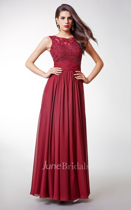 A-Line Beaded Chiffon Long Prom Dress