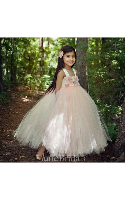 Lovely Blush Flower Bodice Ball Gown Tulle Dress With Bow Back