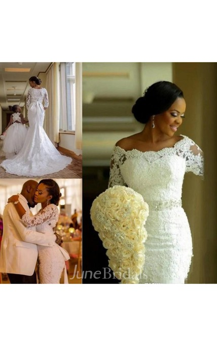 Modest Plus Size Mermaid Lace Long Sleeves Bridal Gown with Sash