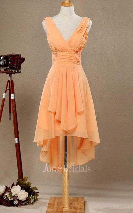 d8bc83ca2acd4 V-neck High Low Bridesmaid Dress With Draping - June Bridals