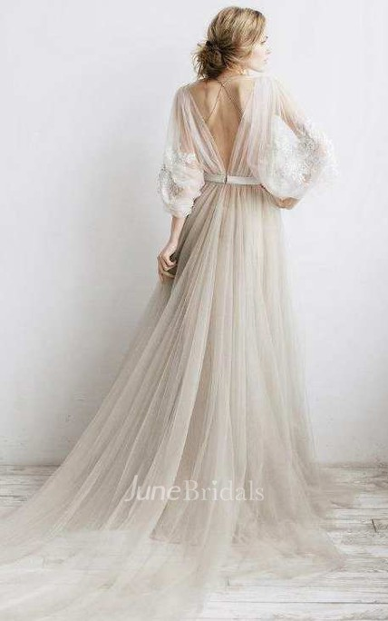 Flowy Illusion Tulle Pleated Dress With Floral Appliques And Deep-V Back