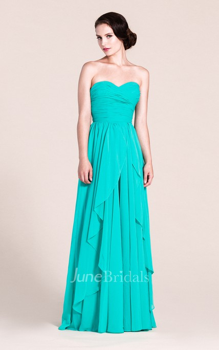 Sweetheart A-line Long Chiffon Dress With Pleats