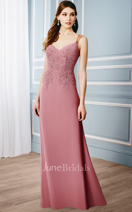 Appliqued Sleeveless V-Neck Jersey Formal Dress With Illusion Back