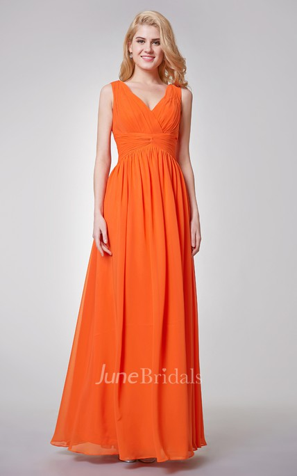Empire Ruched Long Chiffon Bridesmaid Dress