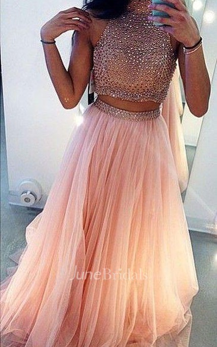 Glamrous High Neck Beadings Prom Dress 2018 Two Pieces Style