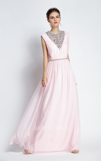 A-Line Jewel Sleeveless Floor-length Chiffon Prom Dress with Beading and Low-V Back