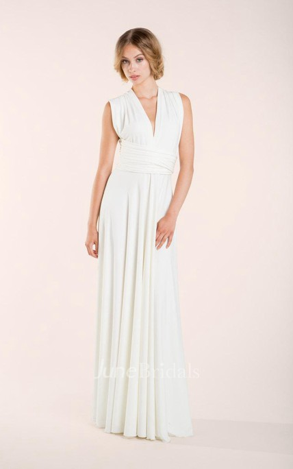 V-Neck Sleeveless Sheath Chiffon Wedding Dress With Ruching And Straps Back