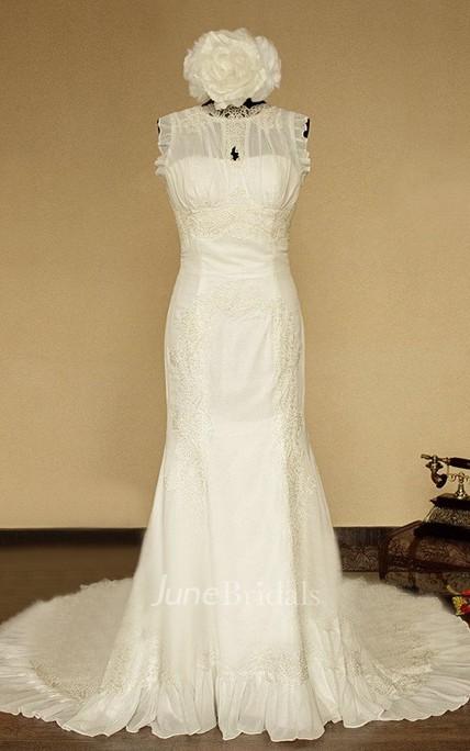High-Neck Sleeveless Button Back Mermaid Chiffon Wedding Dress With ...