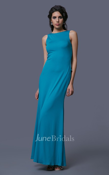 Sheath Chiffon Floor Length Sleeveless Dress With Back Peplum