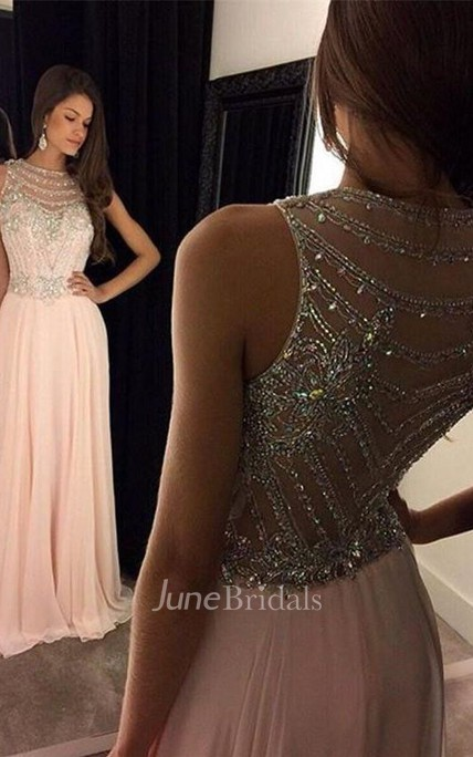 Newest Crystals Chiffon A-line Evening Dress 2018 Illusion Floor-length