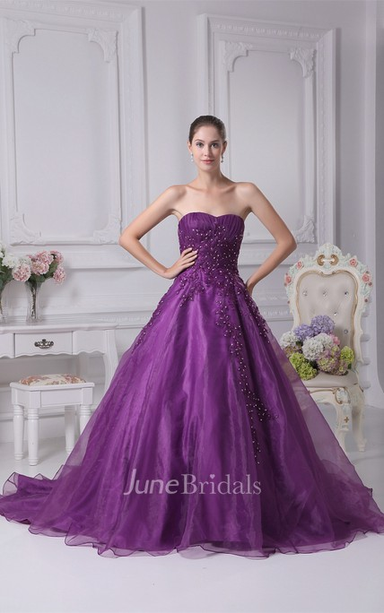 Sweetheart Ruched A-Line Gown with Beading and Corset Back