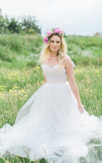Lingerie Inspired Sweetheart A-Line & Tulle Pale Blush Wedding Gown