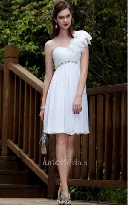 White Sheath Knee-length One Shoulder Dress