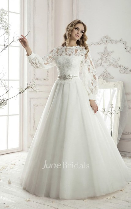 3ba3d729a6e Floor-length A-line Long Sleeve Lace Top Appliques Tulle Dress - June  Bridals