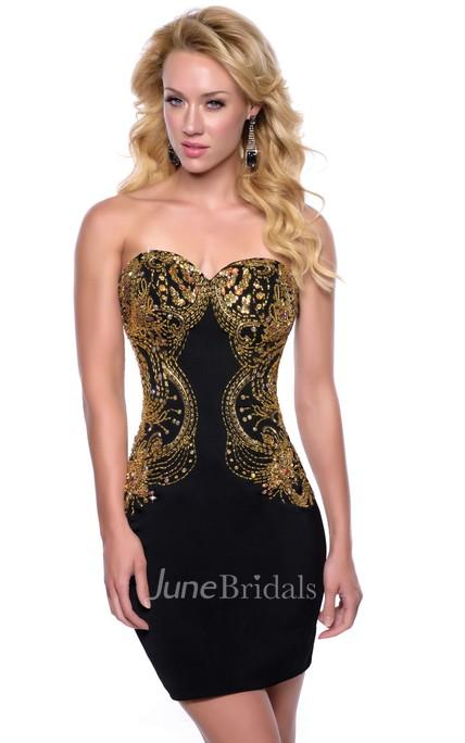 3346fad6df8 Metallic Short Sheath Satin Homecoming Dress With Sweetheart Neckline -  June Bridals