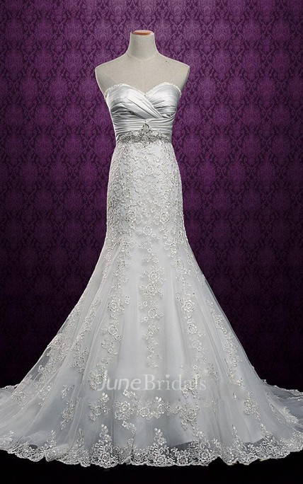 e3344af249 Mermaid Strapped Sweetheart Lace Satin Dress With Corset Back - June Bridals