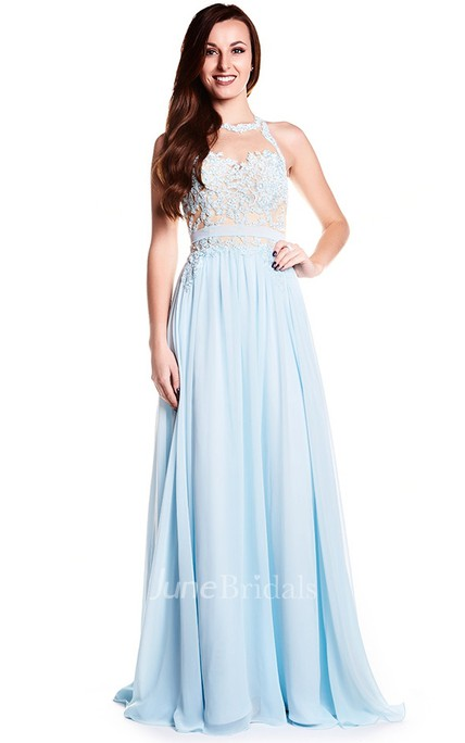 Floor Length High Neck Sleeveless Appliqued Chiffon Prom